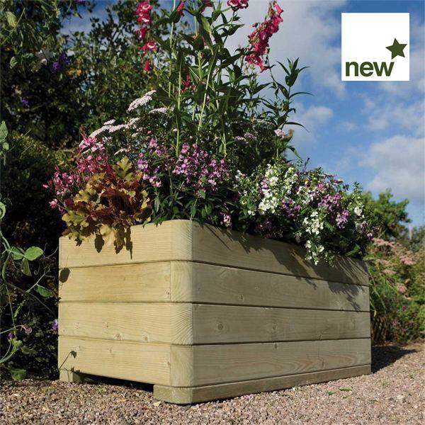 Marberry Rectangular Wooden Planter