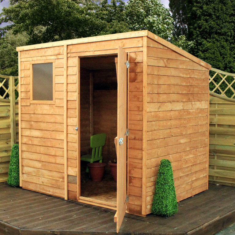 Mercia 7 x 5 overlap pent wooden garden shed garden for Outdoor wood shed