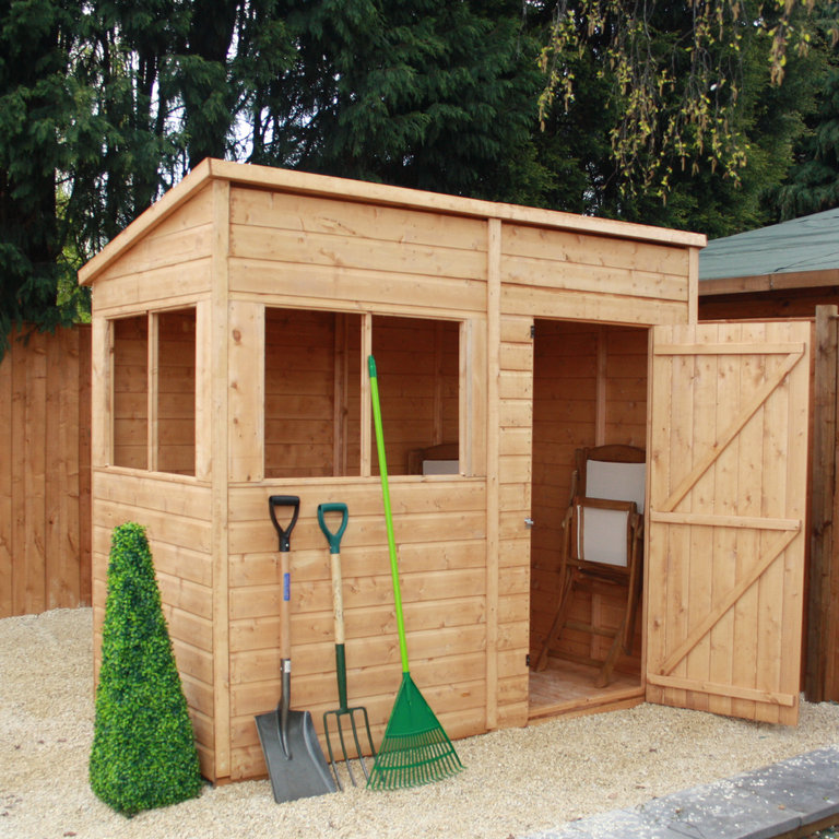 Mercia 8 x 4 pent timber potting shed garden storage online for Garden shed 4 x 8